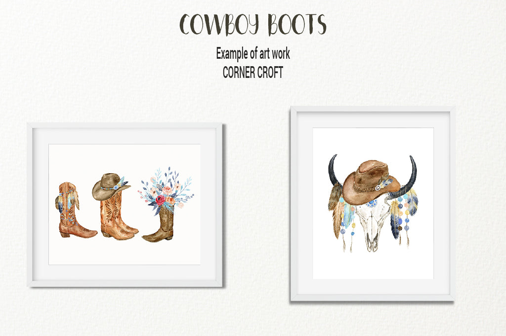 art print of skull, cowboy boots clipart, my family print