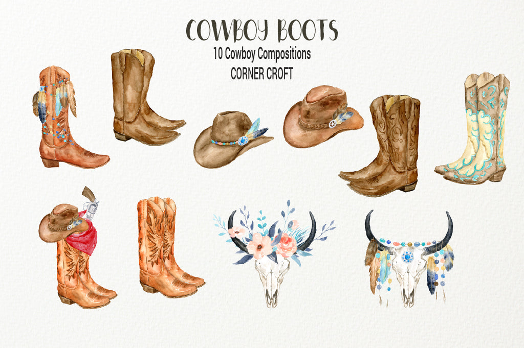 brown pattern cowboy boots, boots illustration, watercolor cowboy boots, floral skull, skull illustration