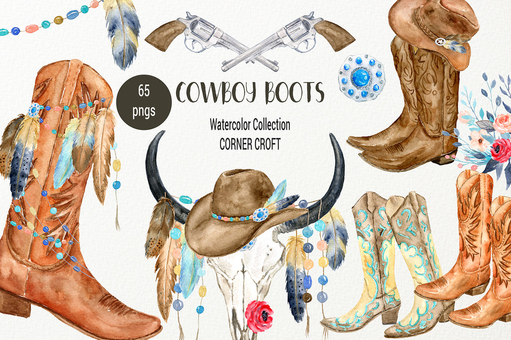 watercolor cowboy boots, hats and accessories, watercolor illustration