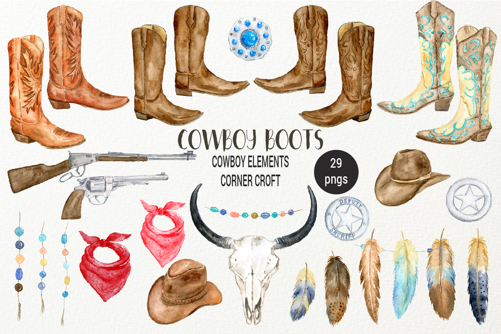 watercolour cowboy boots, pistol, lady's boots, boho skull, feathers, scarf, cowboy clipart