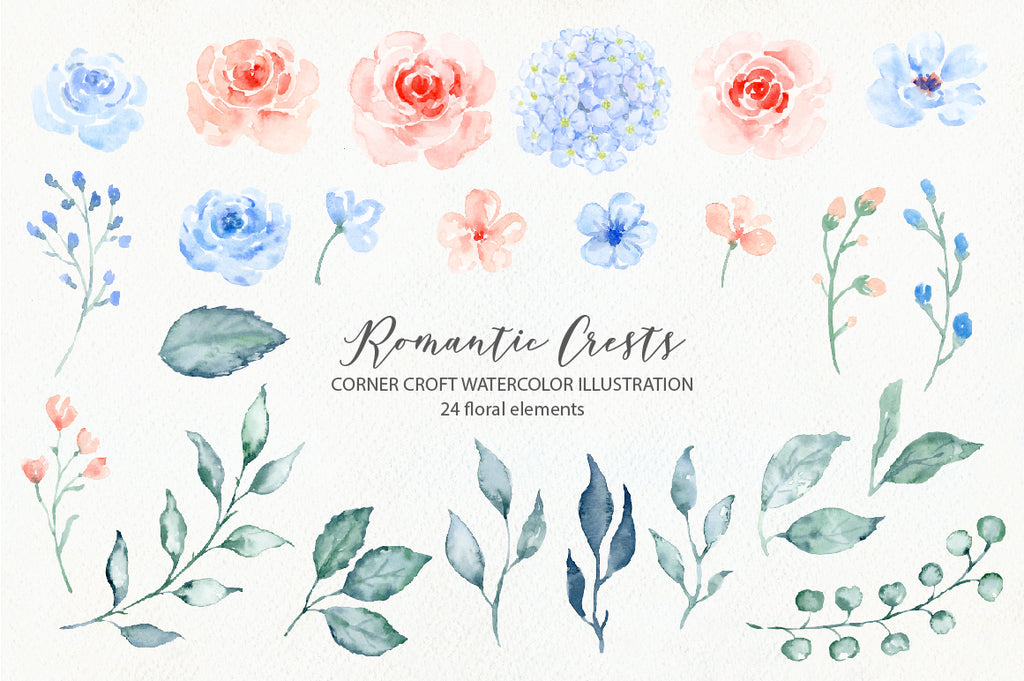 watercolor flower illustration for wedding crest