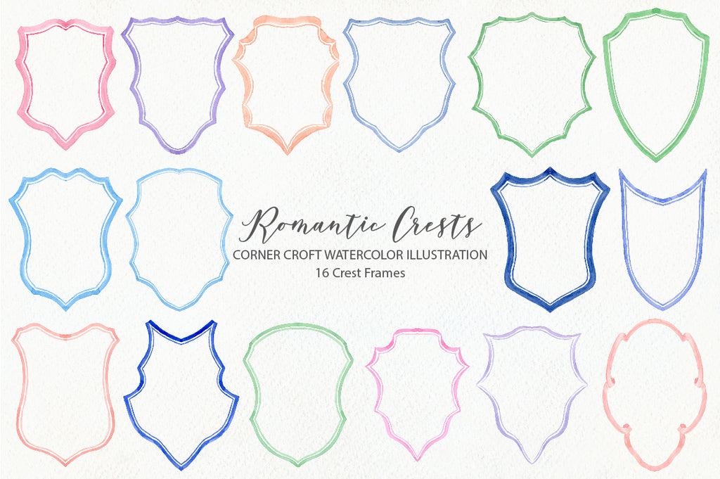 watercolor crest illustration, romantic crest design, pink and blue ribbons