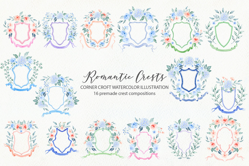 watercolor crest collection, instant download