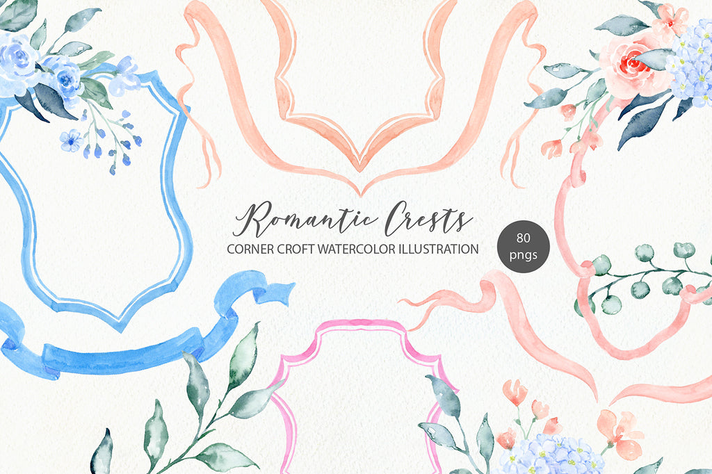 watercolor romantic crest collection for making personalised crest design