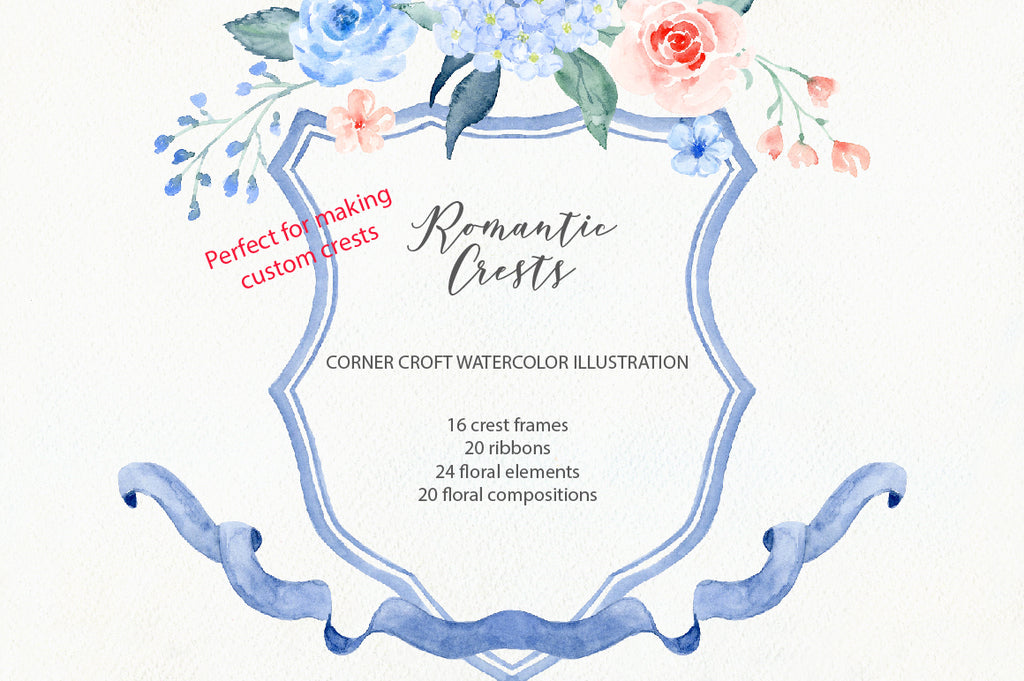 Watercolor wedding crest design kit, make your own crest, family crest design