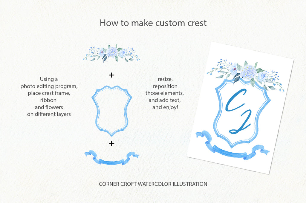 easy crest design kit, watercolor romantic crest collection