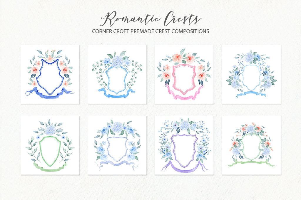 watercolor pre made ready to use wedding crest, wedding crest