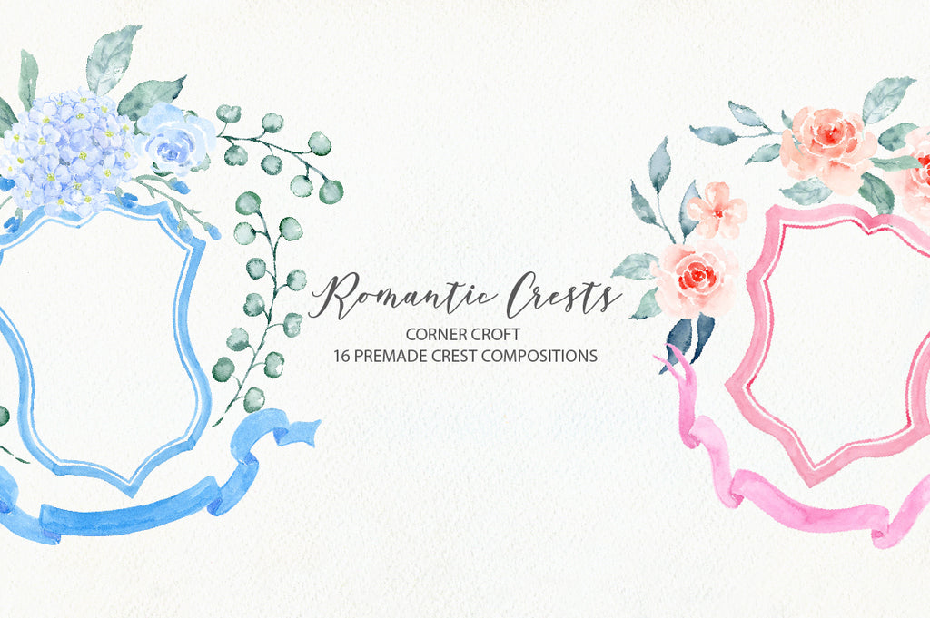 Watercolor clipart, weddding crest colleciton, pink crest, blue crest