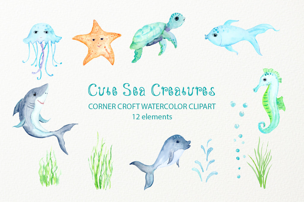 watercolor children illustration seahorse, jelly fish, shark, fish, starfish, dolphin and sea turtle
