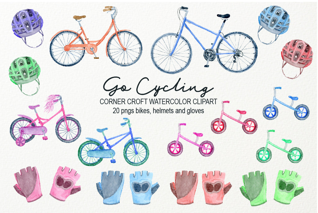 watercolor bikes, men's bike, women's bike, kid's bike, digital files