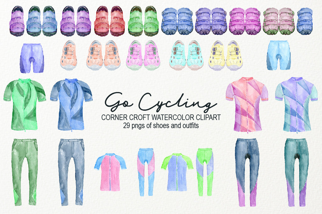 watercolor illustration of sport shoes, cycling shoes, cycling outfit for adult, for kids