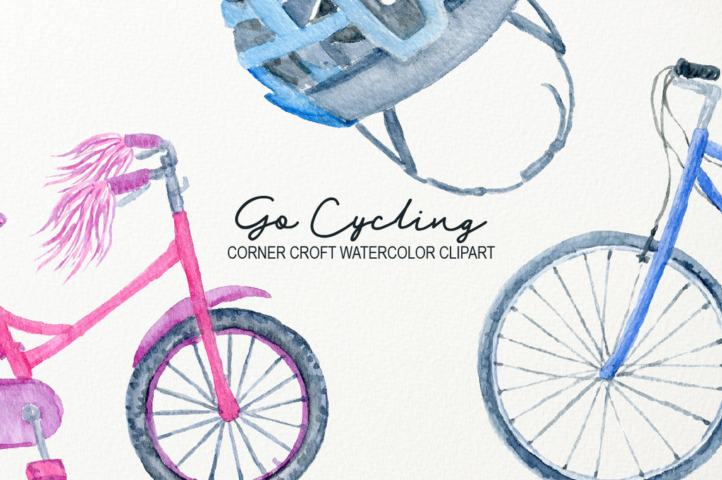 watercolor illustration of cycling equipment for personalised print, for my family print