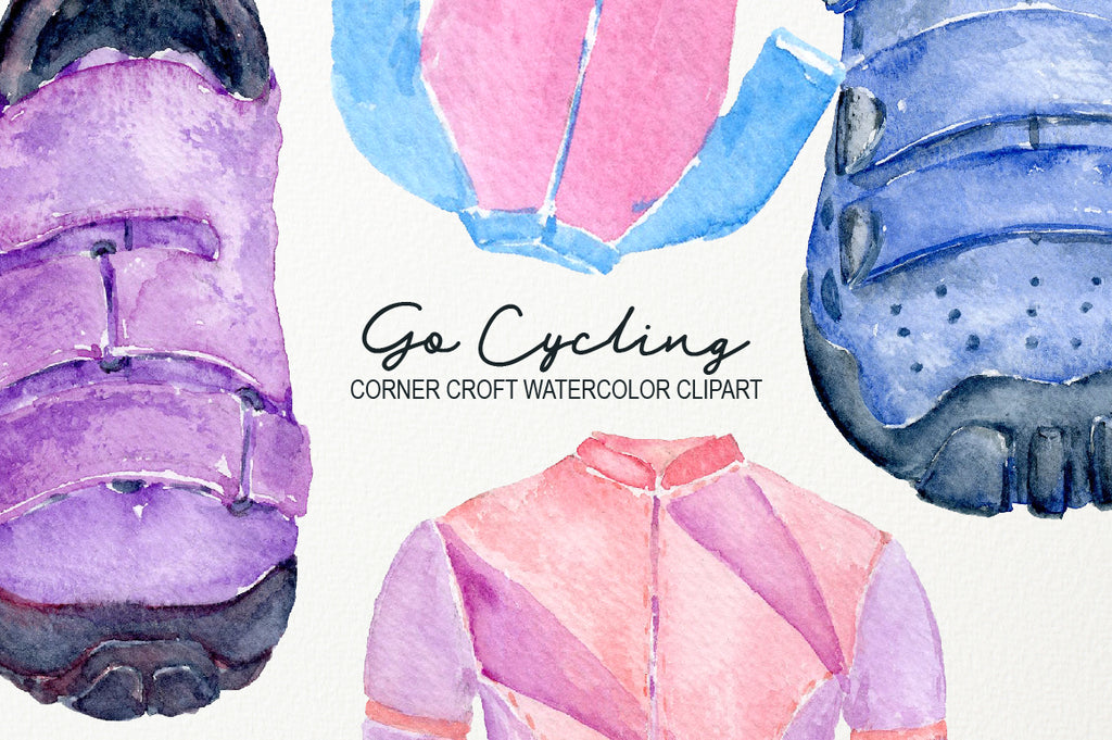 Watercolor clipart go cycling, bicycle, helmet, gloves, cycling shoes, instant download