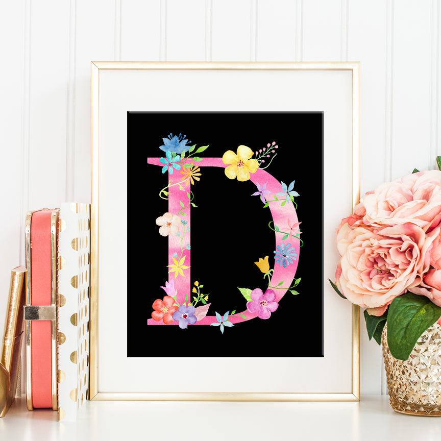 floral letter D, capital letter D, name initial D, pink alphabet D, instant download