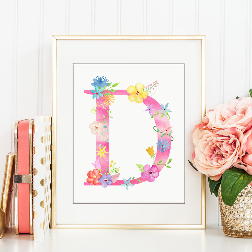 Name initial D, pink floral letter D, capital letter D, printable from Corner Croft