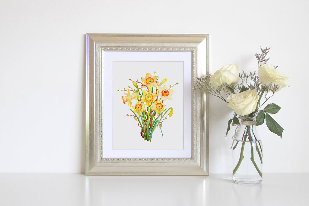 Watercolor spring flowers with long stem, spring bulbs and tree branches.