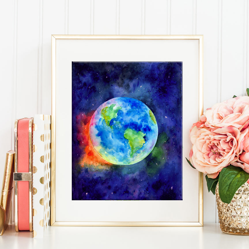 Watercolour painting Earth by watercolor artist Jing Cheng