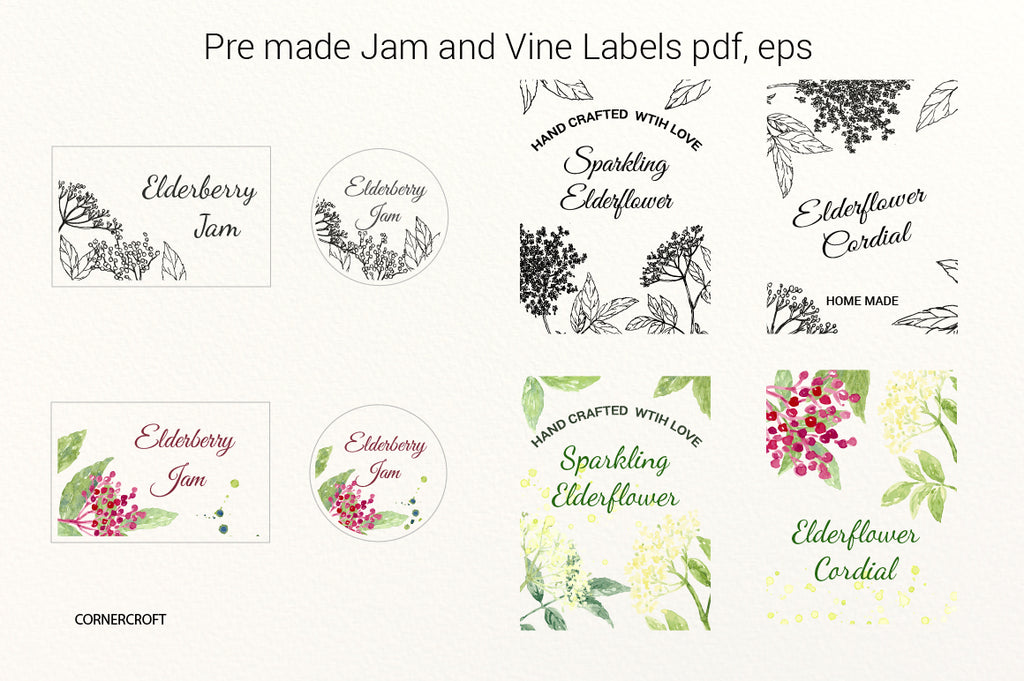 elderflower jam label, vine label, watercolor elder flower, elderflower illustration