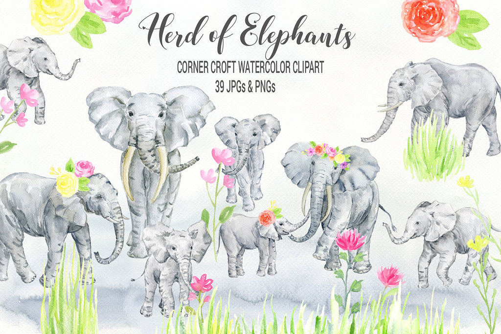 elephant illustration, watercolor herd of elephants, adult and calf, wildlife, instant download