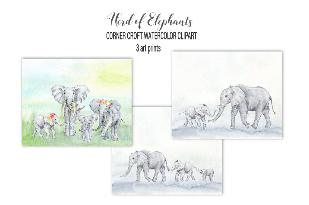 elephant print digital download, make personalised print, my family print, instant download