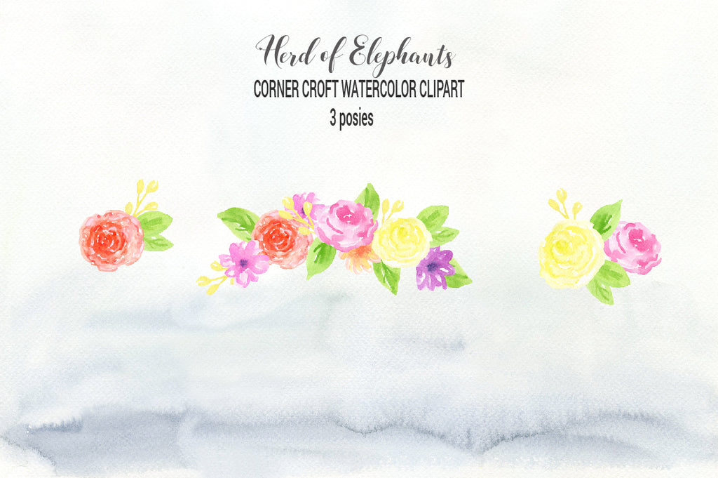 watercolor clipart herd of elephants, elephant illustration, floral elements, grass