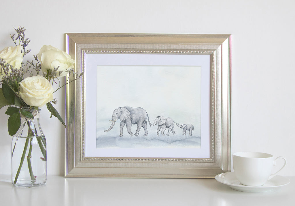 watercolor elephant print, chain of elephants, grey elephant digital download