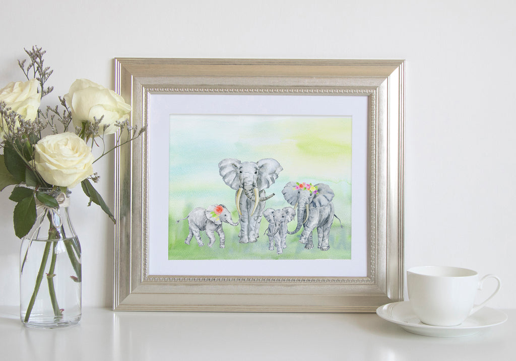 watercolor elephant family print, digital download