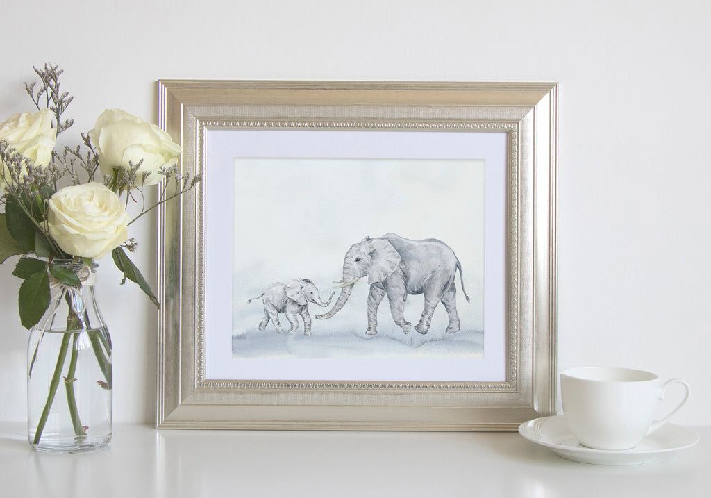 Watercolor elephant print, mother and kid, father and son, Mother's Day gift, Father's Day gift