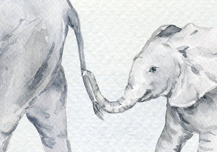 watercolor illustration of three elephants walking in a line, chain of elephants