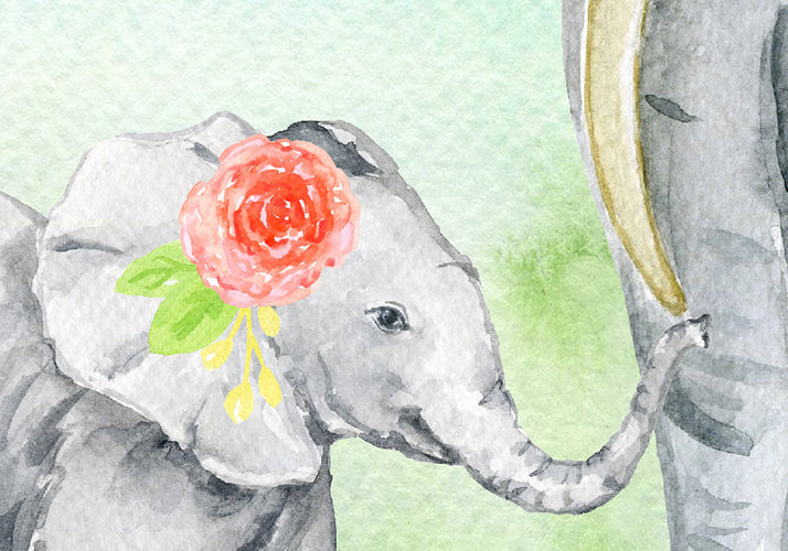 watercolor elephant family printable, elephant illustration