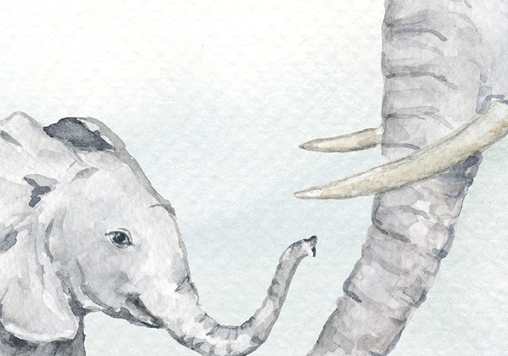 watercolor elephant mother and son, father and sun, elephant illustration