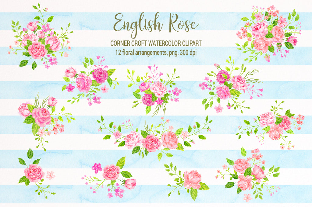 watercolor rose clipart, pink rose illustration, wedding invitation, save the date, floral posy, composition, rose clipart