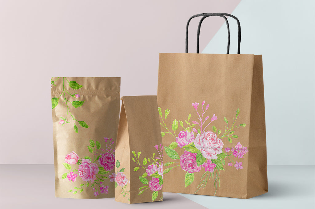 use pink rose clipart to create beautiful fabric, logo and branding