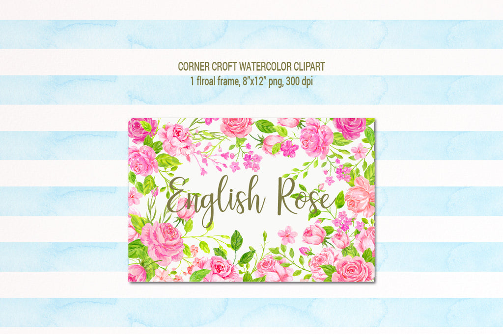 Watercolor clipart English Rose, rose frame, pink rose illustration, instant download