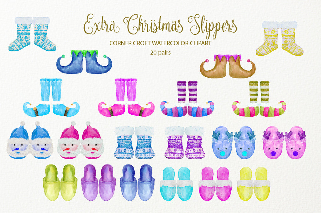 watercolor christmas slippers in blue, purple and yellow