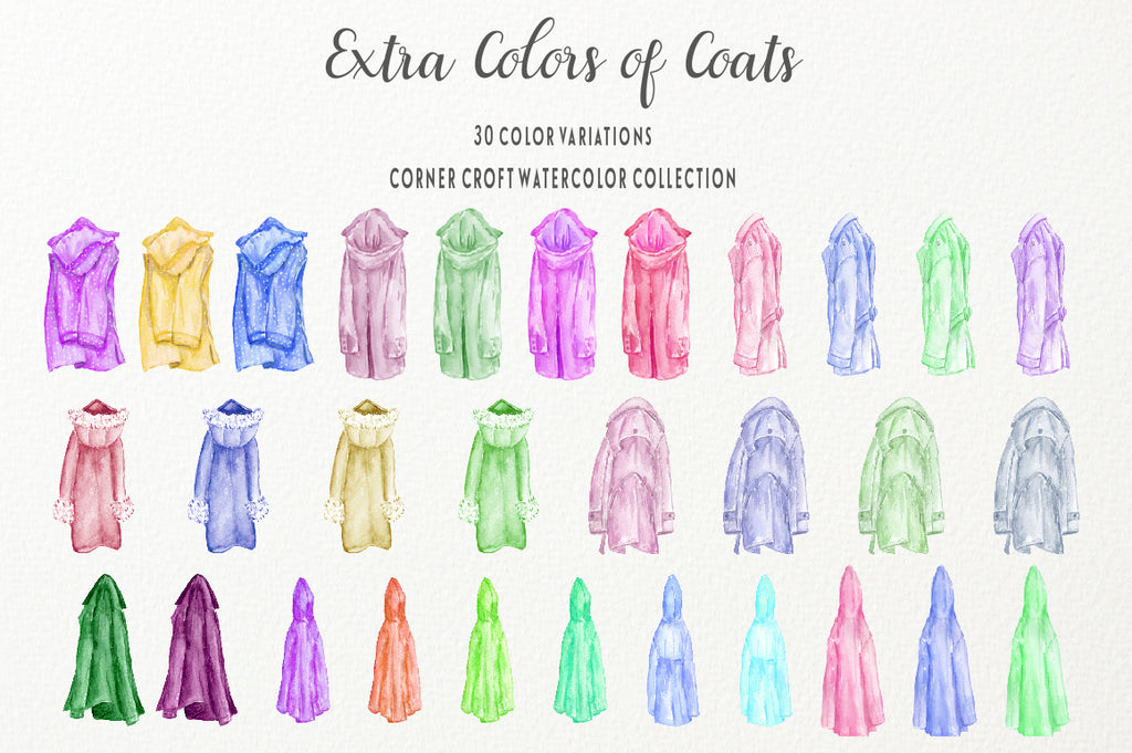 watercolor coats on hangers, instant download, personalised print creator