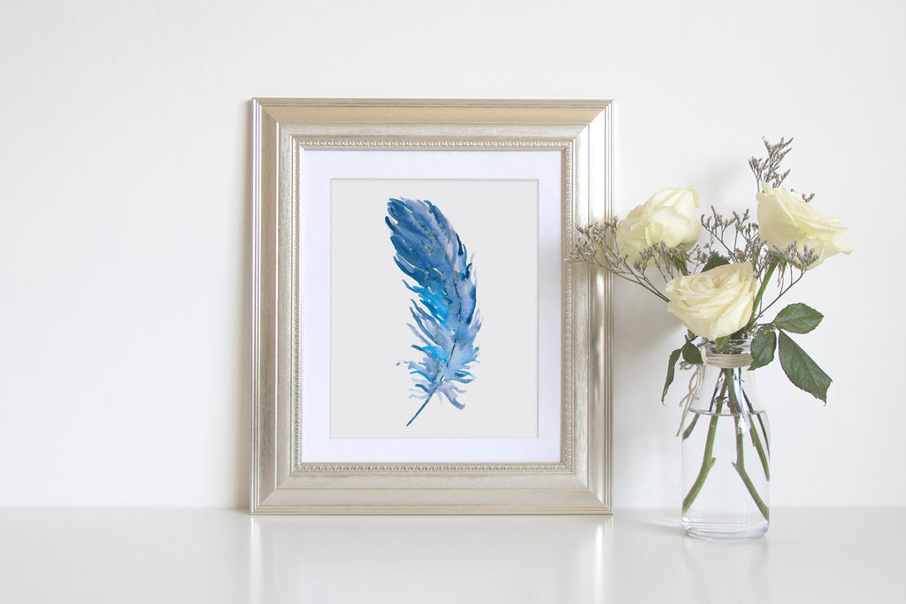 "Waterolor blue feather print 8""x10"", instant download, boho feather, falling feather"