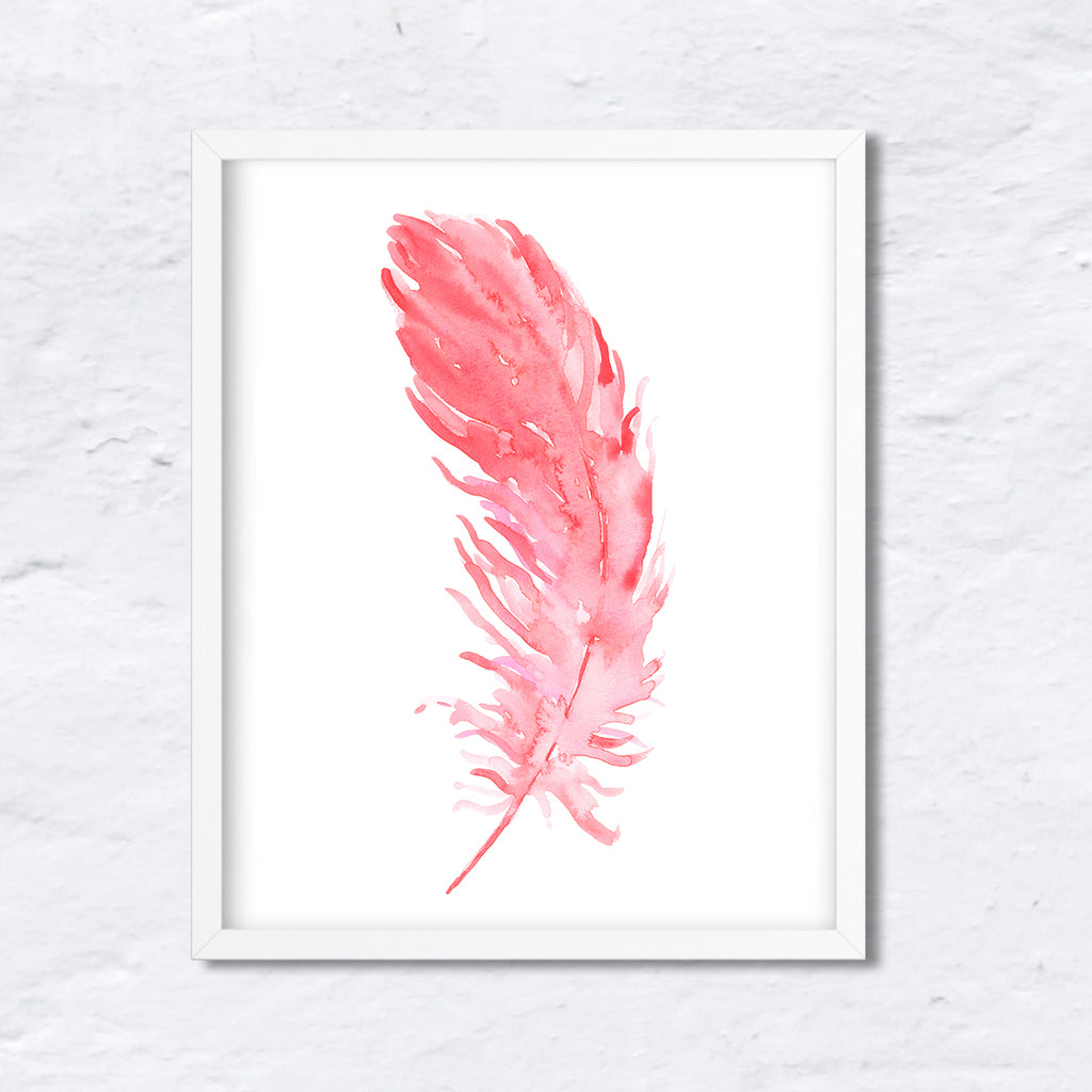 "watercolor pink feather, salmon pink, watercolour feather, blue feather, instant download, 8""x10"""