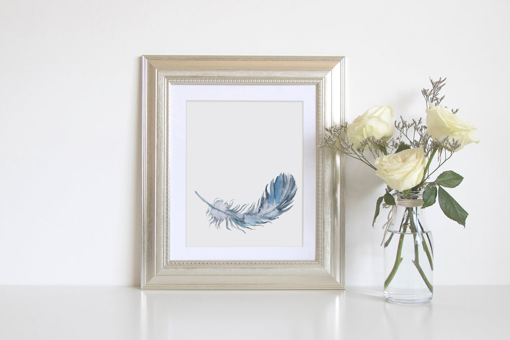 Watercolor feather print, 8x10 watercolor feather illustration, abstract feather, blue feather