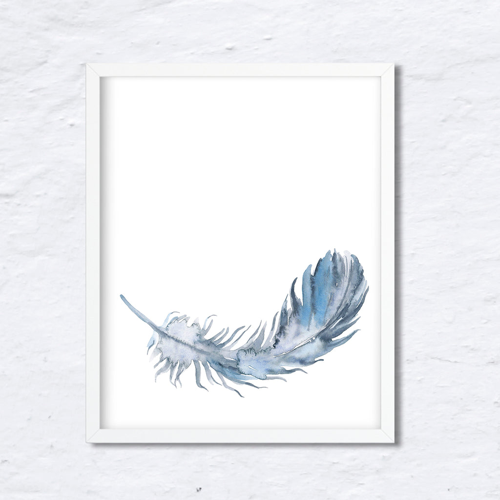 Watercolor blue feather, falling feather, feather illustration, corner croft art print