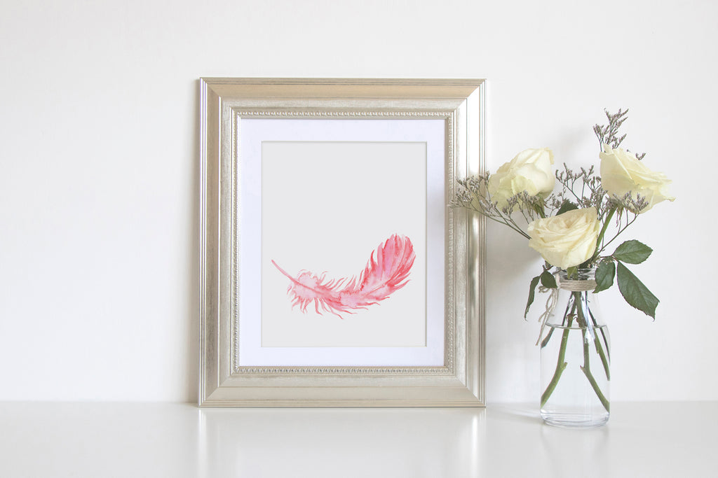 watercolor pink feather, salmon pink feather, watercolour feather, instant download