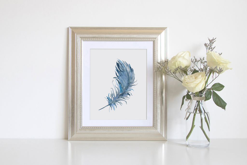 watercolor blue feather, abstract blue feather, feather print, watercolour feather, feather illustration