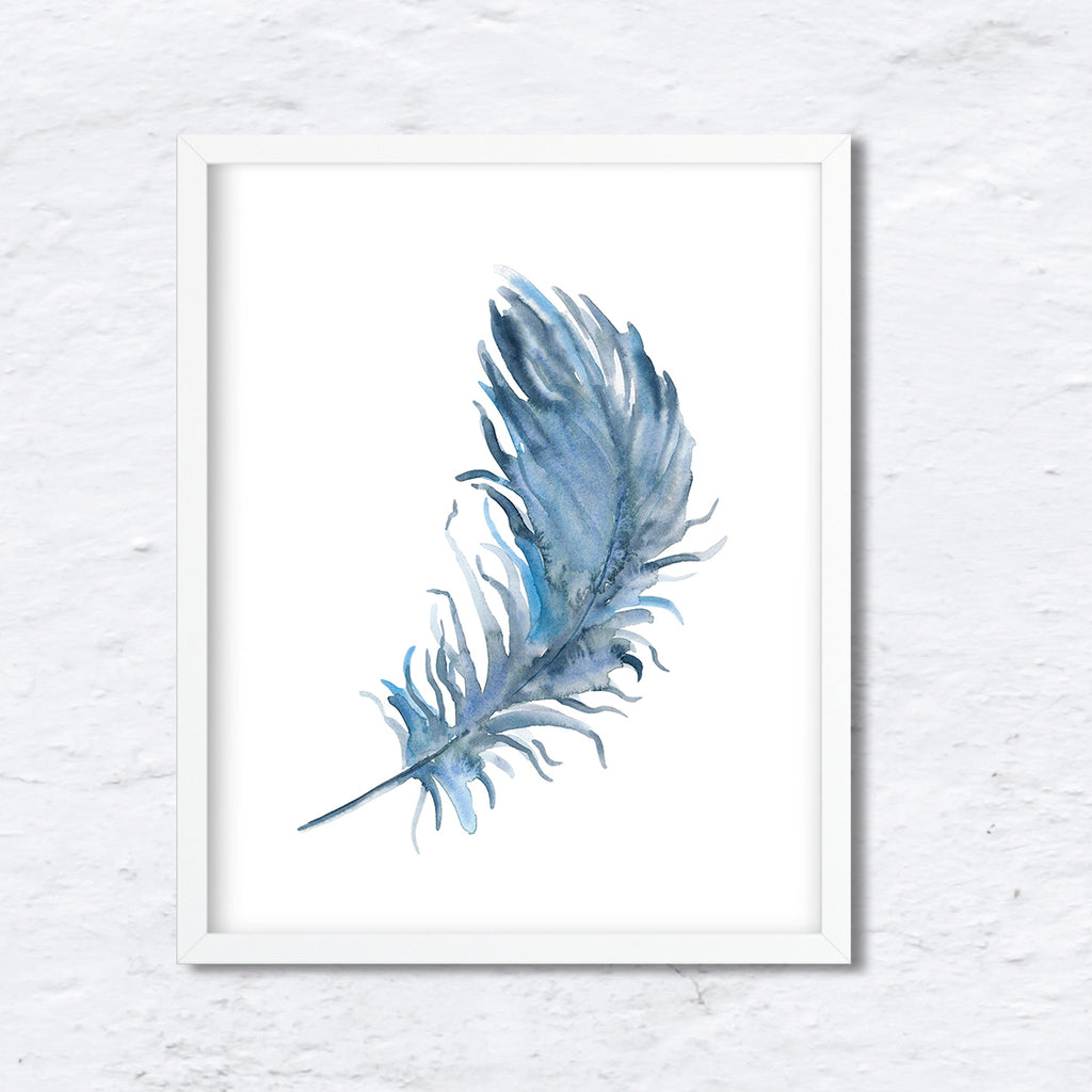 Watercolor blue feather print, boho feather, instant download,