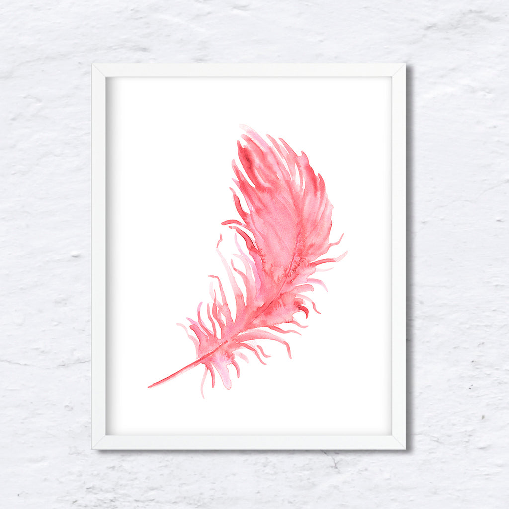 watercolor pink feather, falling feather, feather illustration, instant download