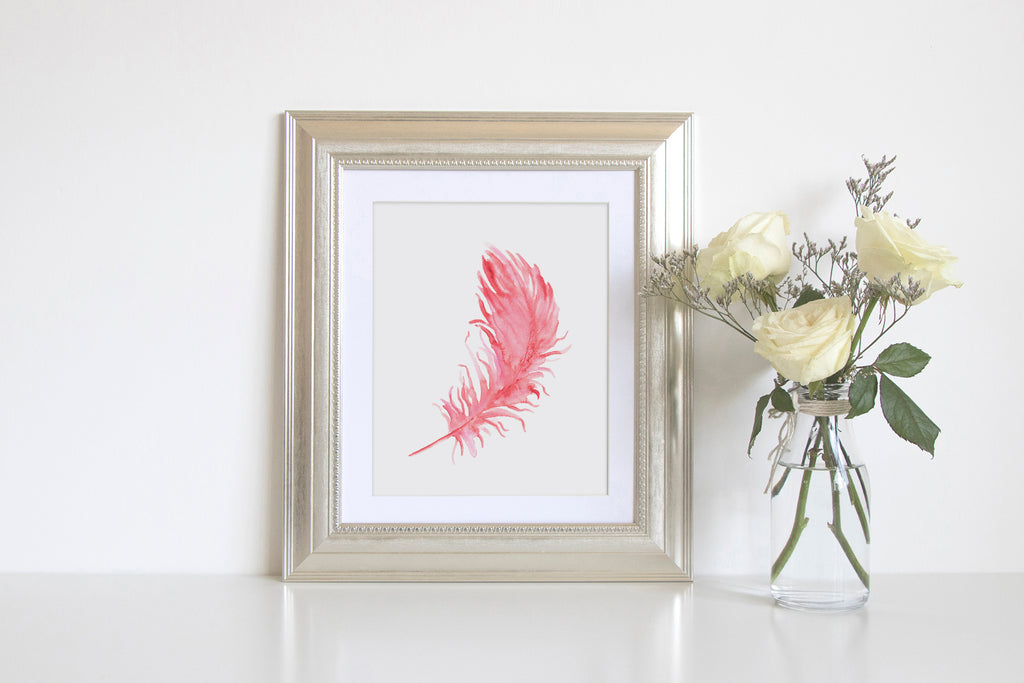 boho feather, salmon pink feather, watercolour pink feather, instant download