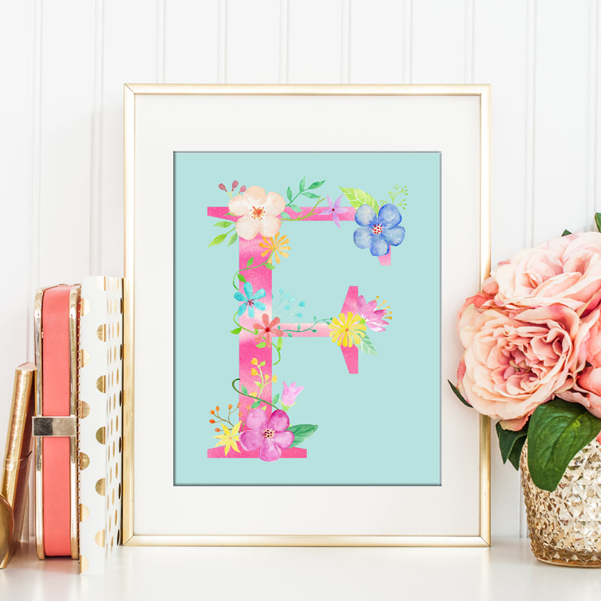 Watercolor Pink Floral Letter F, AlphabetF, Initial F Art Print Digital Download
