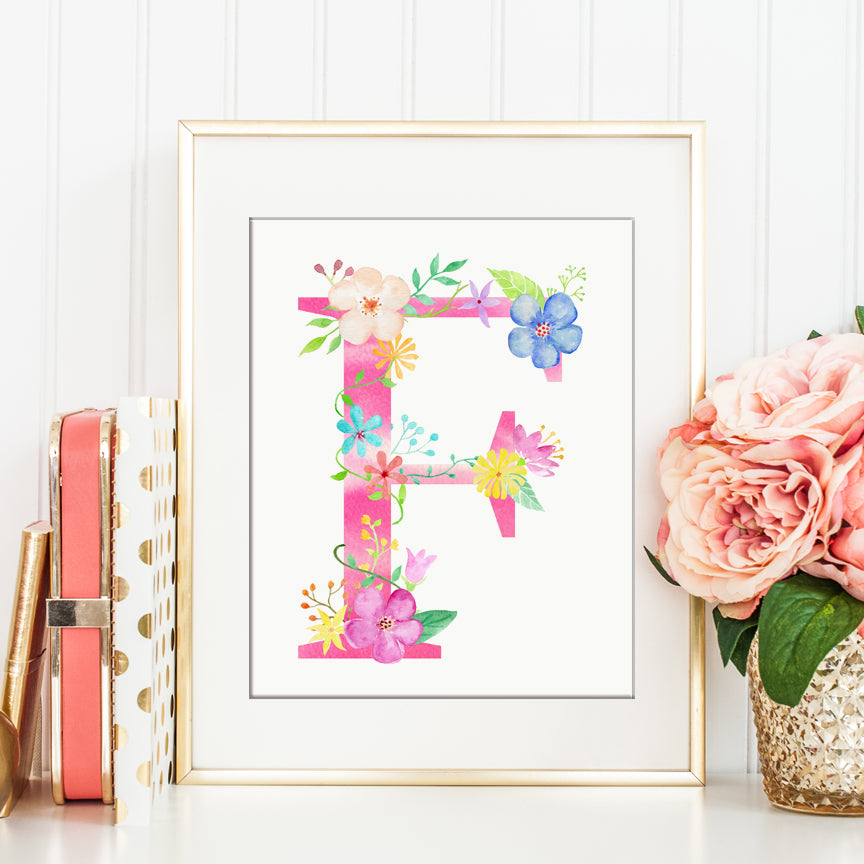 Floral letter F, watercolor pink alphabet f, instant download, digital print, name initial F