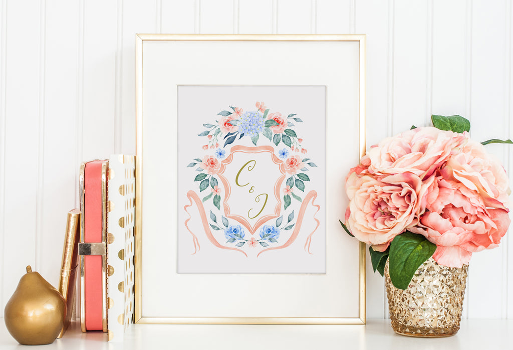 ready to use crest, romantic crest instant download