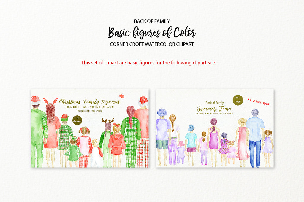 watercolor clipart, family figures of color, back view of family