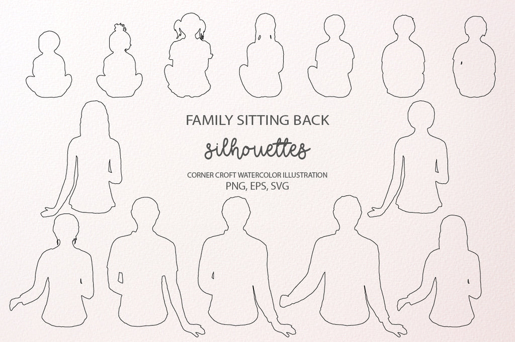 outlines of people sit back, family sit back instant download